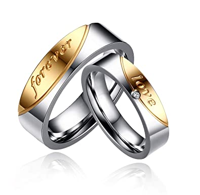 38adfdd3c6 Uloveido His or Hers Forever Love Gold Plated Stainless Steel Titanium  Wedding Band Couple Rings Set