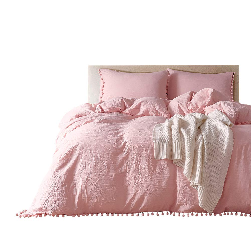 MOVE OVER 3 Pieces Pink Bedding Pink/Peach Duvet Cover Set Ball Fringe Pattern Design Soft Light Pink Girls Bedding Sets Queen One Duvet Cover Two Ball Lace Pillow Shams (Queen, Pink/Peach)