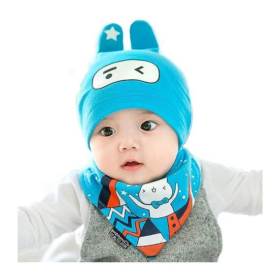 90fd1d199 Adorable bebé Gorro y Baberos Conejo de Punto Vistoso Invierno Caricatura  Tejido Caliente Lana Cofia Capucha