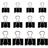 Zacro 60pcs Office Paper Clamps, 19/25/32mm Black Metal Office Paper Clamps, Foldback Binder Clips/Klemmer for Closing Plastic Bags, Securing Documents, Office Organize