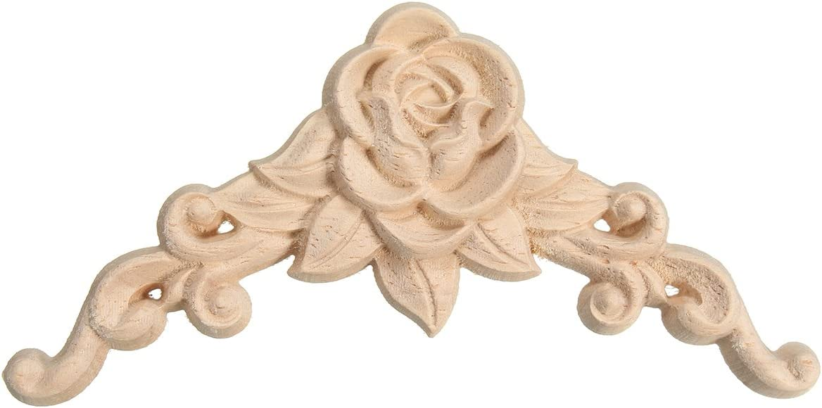 HengST 2pcs Wood Carved Applique for Furniture Unpainted Woodcarving Decals Decorative Onlays Appliques for DIY Bed Door #2