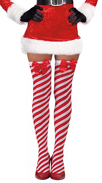 a7eb47a8b62fa Amazon.com: Costume Adventure Candy Cane Red and White Striped Over The Knee  Christmas Stockings with Bow: Clothing