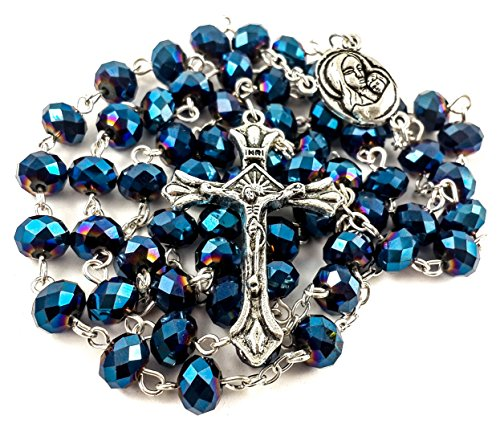 Sapphire Blue Crystal Beads Rosary Necklace Holy Soil & Metal Crucifix New