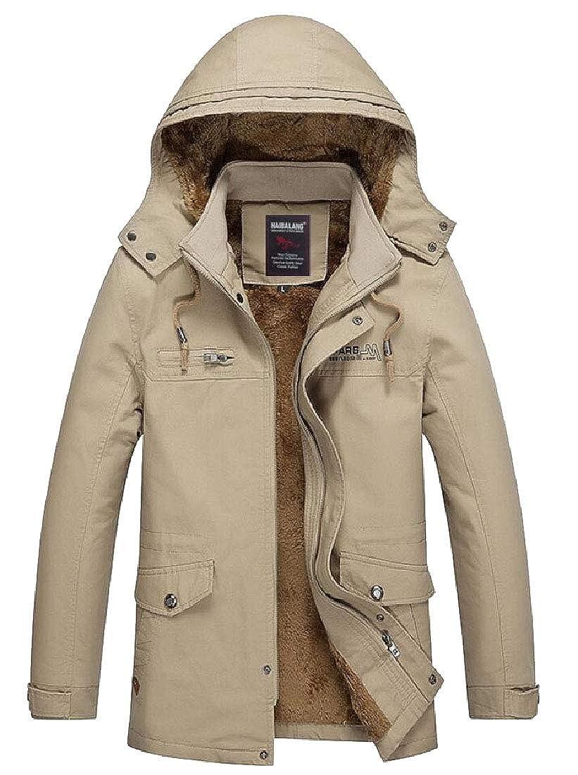 M/&S/&W Mens Warm Jacket Hooded Fleece Lining Winter Coat Parka Overcoat