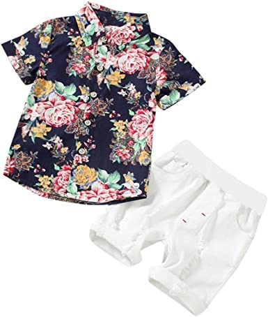 Toddler Baby Boys Clothes Sets Flowers Print Tops+Shorts 2PCs Outfits