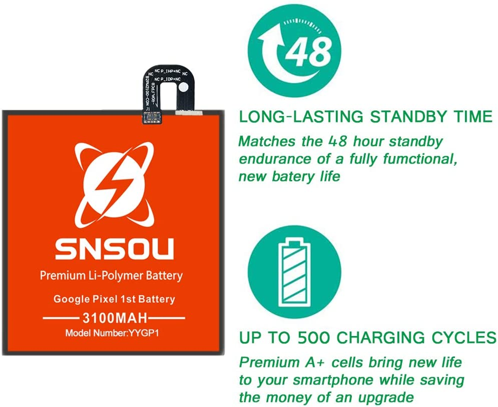 36 Month Warranty SNSOU 3100mAh Battery Replacement for HTC Google Pixel 1st with Repair Replacement Kit Tools.