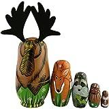 北アメリカの動物 マトリョーシカ マトリョーシカ人形 手業 手塗り 木製品 5個組 誕生日 プレゼント 贈り物 子供のおもちゃ 飾り物 置物