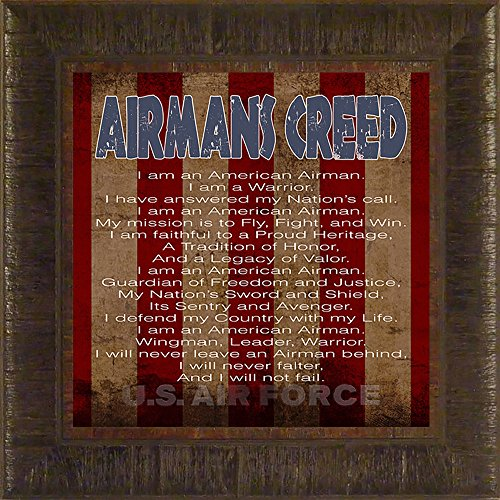 Airman's Creed- Air Force By Todd Thunstedt 17.5x17.5 Patriotic Soldier Military War Constitution Department of Washington Lincoln Reagan VFW Legion Bald Eagle Helicopter General West Point Sailor Airman Corps Fleet Submarine Parachute Police Policeman Humvee Armored Seal Ranger Battleship Destroyer Pentagon National Guard Special Op Academy Top Gun Base Fort Hood Bragg Campbell Benning Camp Pendleton Eglin AFB Naval Annapolis Warfare F22 Raptor Pilot Framed Art Print Wall Dcor...