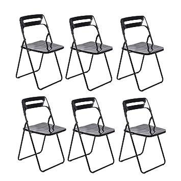 Sedie In Plastica Pieghevoli.Wgxx Sedie Pieghevoli 6pcs Sedie Pieghevoli Di Plastica Casa
