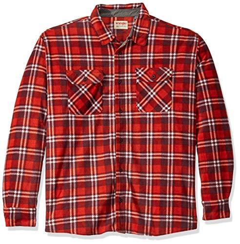 (Wrangler Authentics Men's Big and Tall Long Sleeve Plaid Fleece Shirt, Rio Red Tartan Plaid, 3XL)