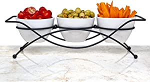 Elegant 4-piece Relish Tray with White Ceramic Bowl. Server Set with Metal Rack, Buffet Server For Appetizers, Candy, Nuts and Dips,
