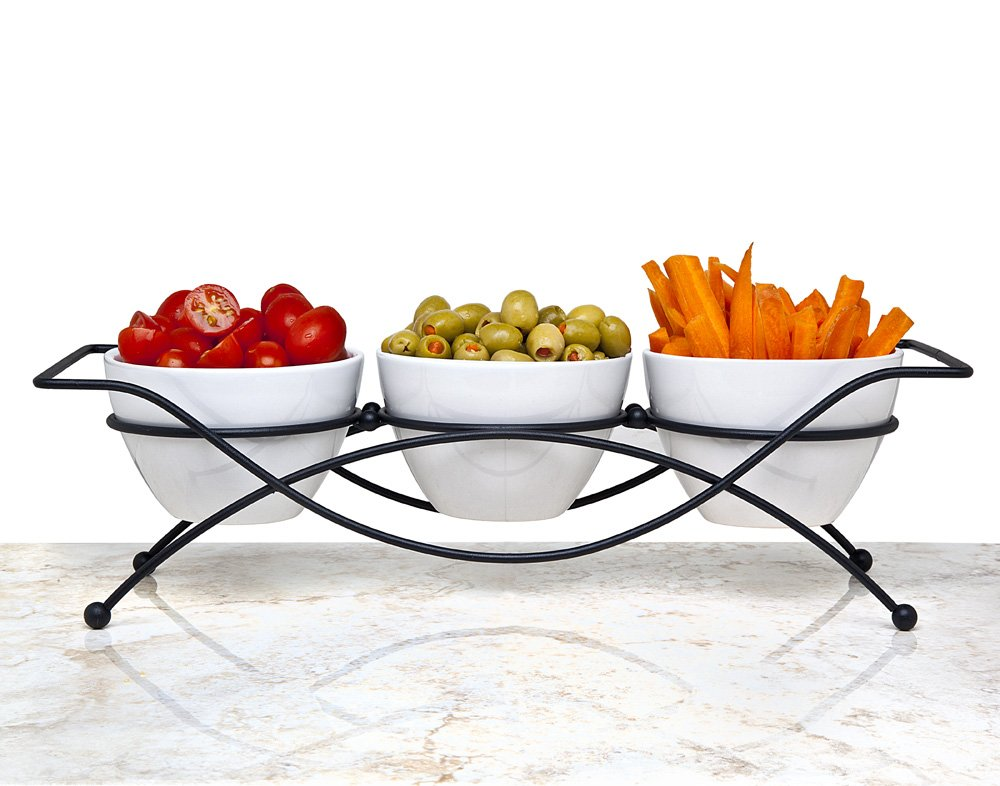 Elegant 4-piece Relish Tray with White Ceramic Bowl. Server Set with Metal Rack. Buffet Server for Candy, Nuts and Dips. Le'raze gl21