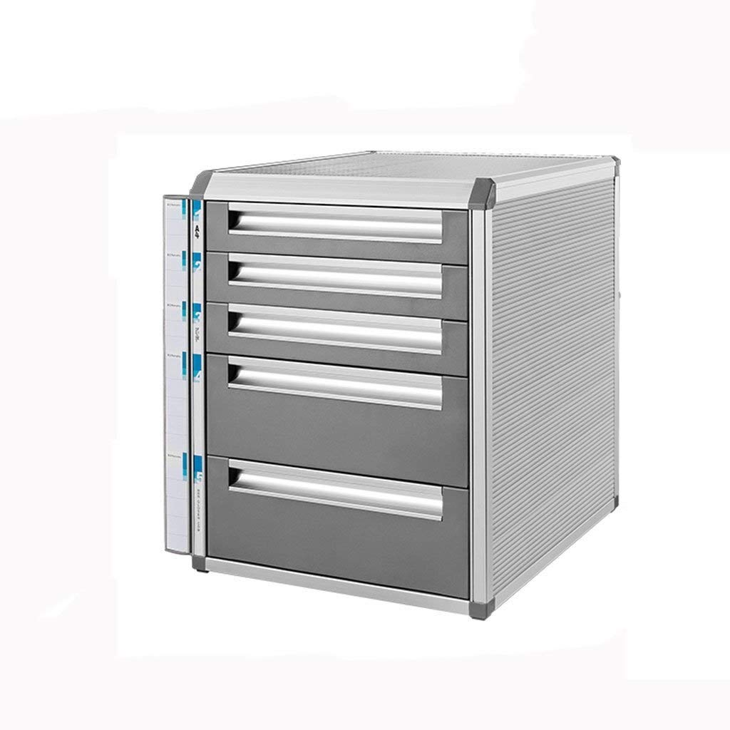 Filing Cabinet Desktop File Cabinet Aluminum Alloy Lockable Data Office Storage Drawer Confidentiality Box Office Desktop Drawer Organizer (Size : 5 Layers-Large) by SZHXH