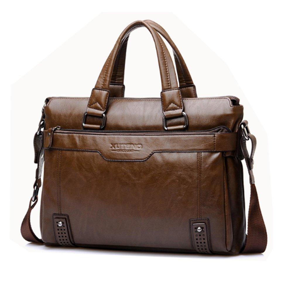 f4650d1113ca Amazon.com: Coffee Mens Leather Briefcase Laptop Case Messenger Bag ...