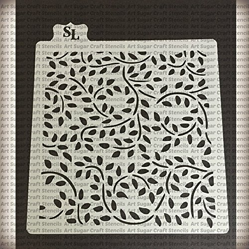 Leaves and swirl Cookie stencil - cupcake designs for air brush - Royal icing ()