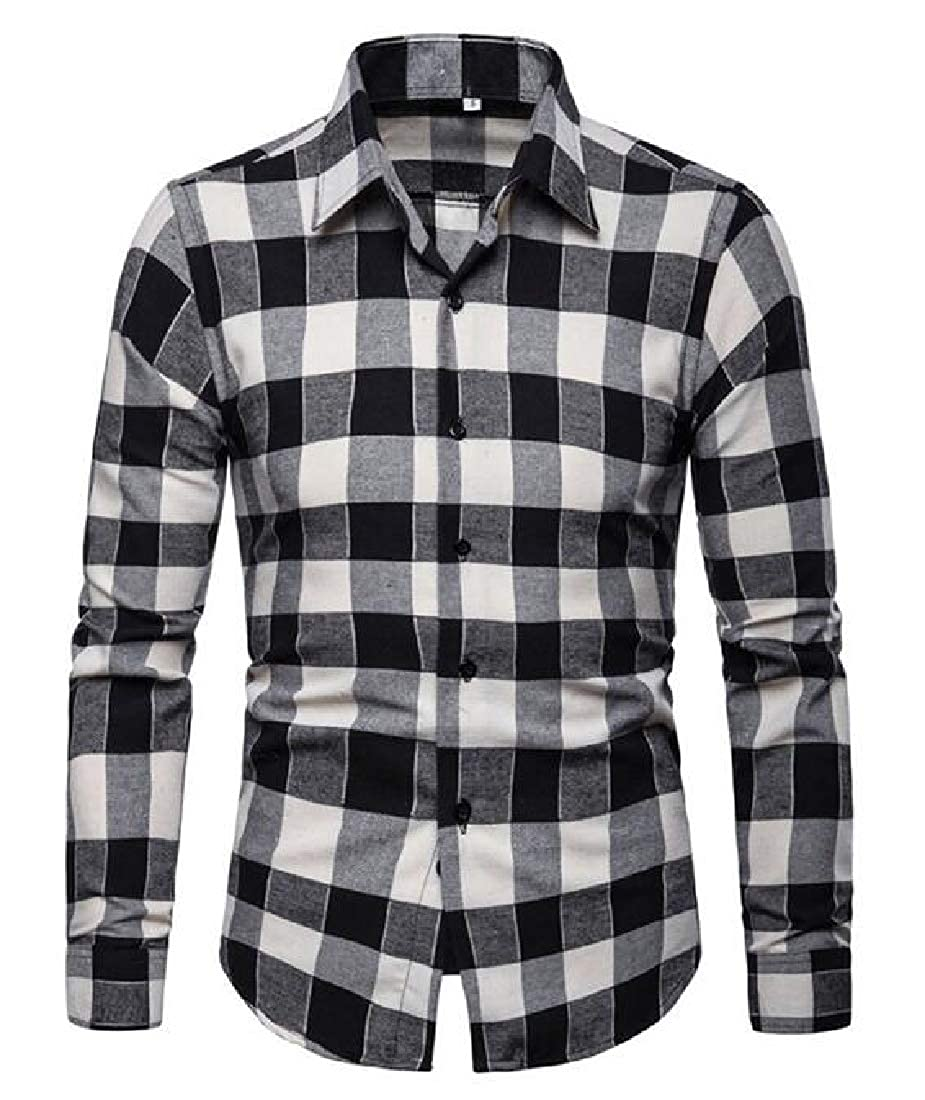 GRMO Men Long Sleeve Business Plaid Slim Fit Casual Button Down Dress Work Shirt