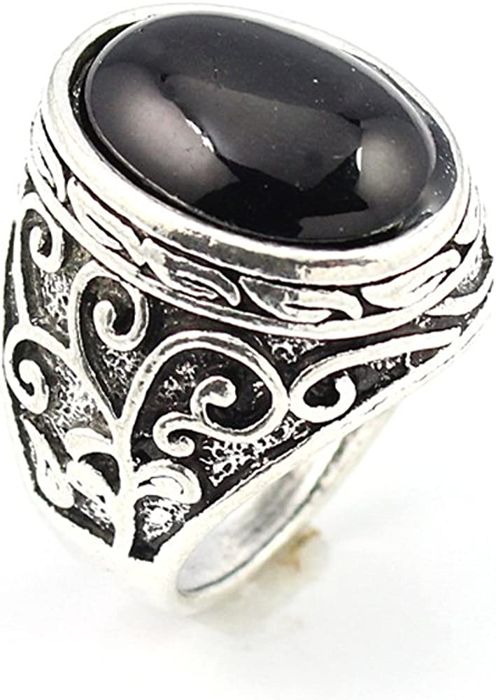 HIGH FINISH BLACK ONYX FASHION JEWELRY .925 SILVER PLATED RING 10 S22939