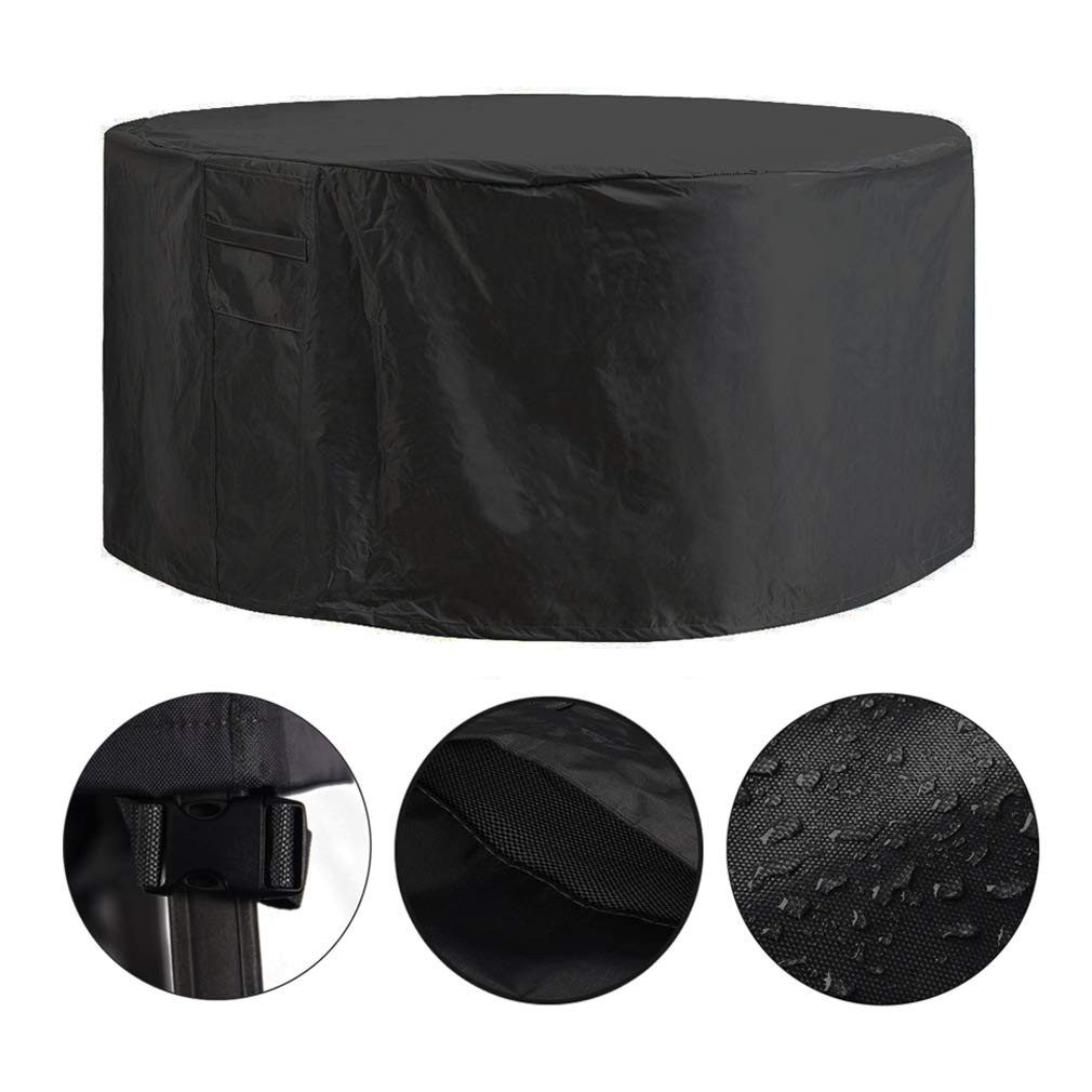Garden Outdoor Round Table Cover Black 128 x 71cm 600D Oxford Waterproof Patio Furniture Set Cover iisport Circular Table Cover