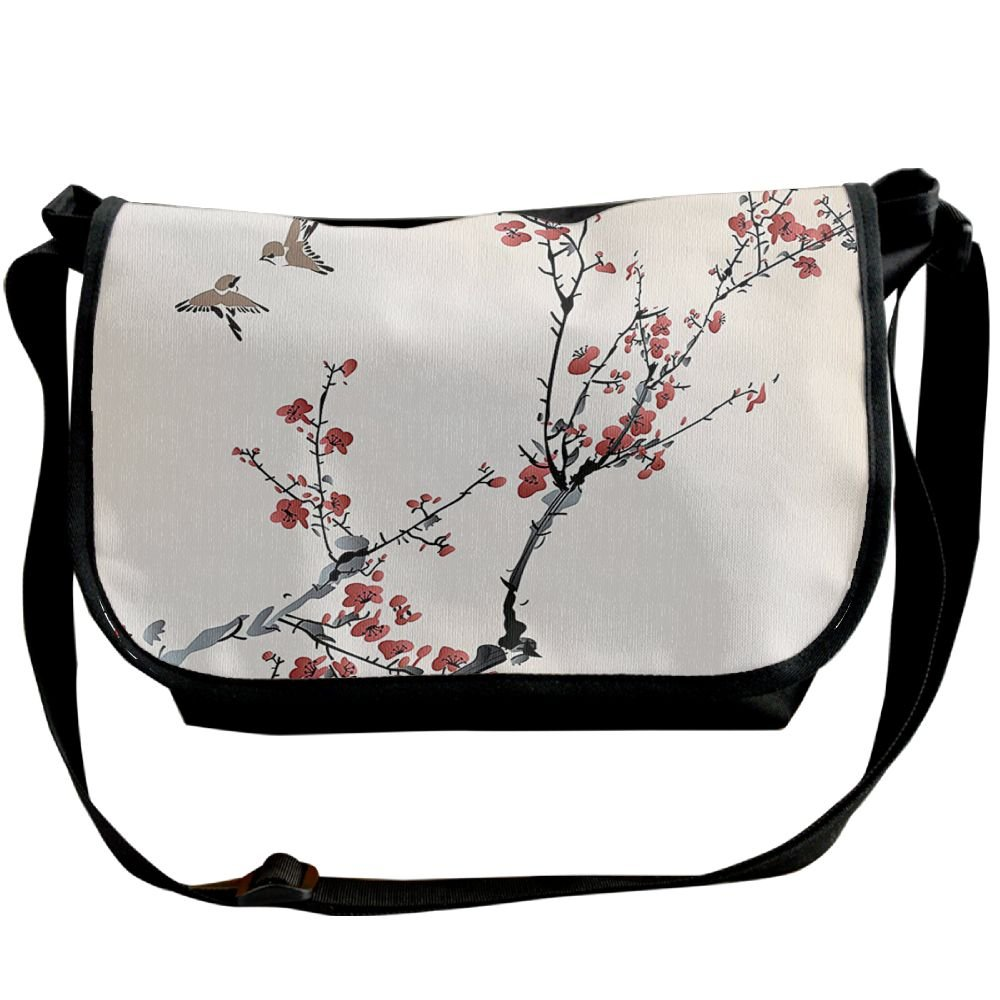 free shipping Kmeiqufan Cherry Branches Flowers Buds And Birds Asian Style Artwork With Painting Effect Unisex Wide Diagonal Shoulder Bag Adjustable Single Shoulder Backpack