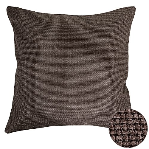 Deconovo Faux Linen Pillow Cover Hand Made Decorative Pillow Cases 18x18 Inch Brown - Handmade Decorative Pillow Covers