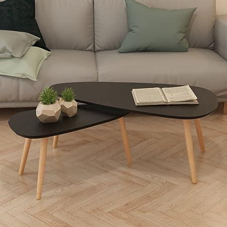 Xinglieu Coffee Table Set 2 Pieces Sturdy Pinewood Black Living Room