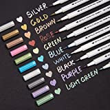 Bianyo Metallic Brush Marker Pens, 10 Colors Calligraphy Pens for Coloring Drawing Lettering
