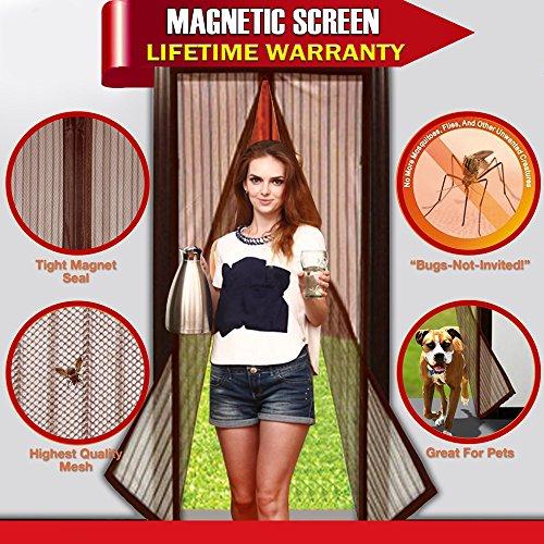 ARCCI Magnetic Screen Door Full Frame Velcro Soft Mesh Door Fits Door Up To 39 x 82-Inch MAX Coffee