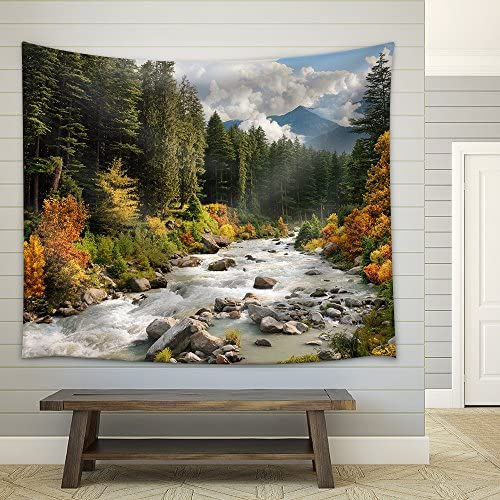 Beautiful Colorful Landscape with a Stream and Forest in Autumn Colors Fabric Wall
