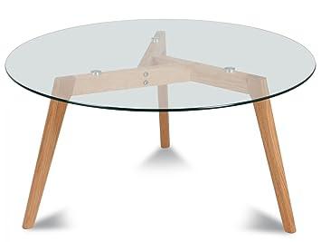 1642cffcca184 TENDANCEMEUBLES Table Basse Ronde scandinave Verre et chêne Ø 90 cm ...