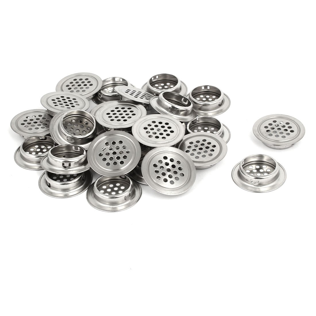 uxcell 28.5mm Bottom Dia Stainless Steel Round Shaped Mesh Hole Air Vent Louver 25pcs