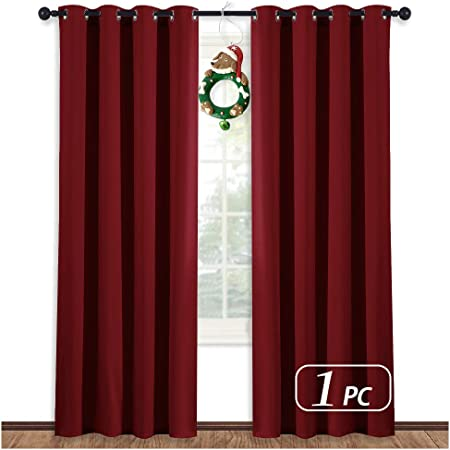 NICETOWN Burgundy Curtains for Living Room - (Burgundy Red) Christmas  Window Decoration Energy Smart Thermal Insulated Window Treatment  Drape/Drapery ...