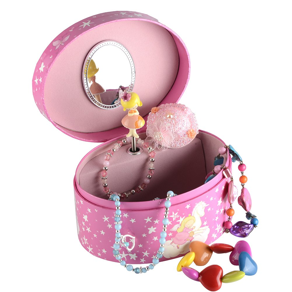 Musical Jewelry box, Music jewel Storage Box in Oval shape, Unicorn design, Beautiful Dreamer Tune (6''x 4.75''x 3.3'')