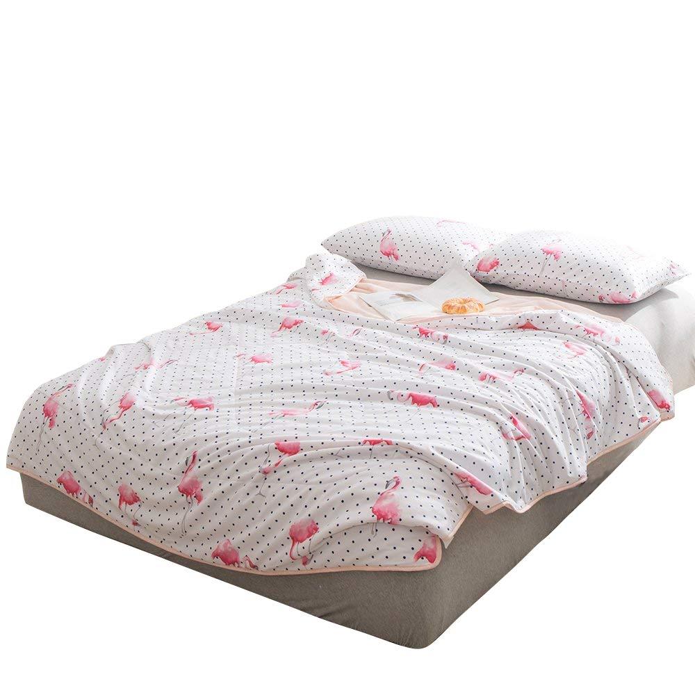 Enjoylife 1-Piece Soft Thin Quilt Washable Full Cotton Summer Comforter Animal Printing Pattern Flamingo-1 BEDSPREADS&Blanket 150x200cm = 59''x79''