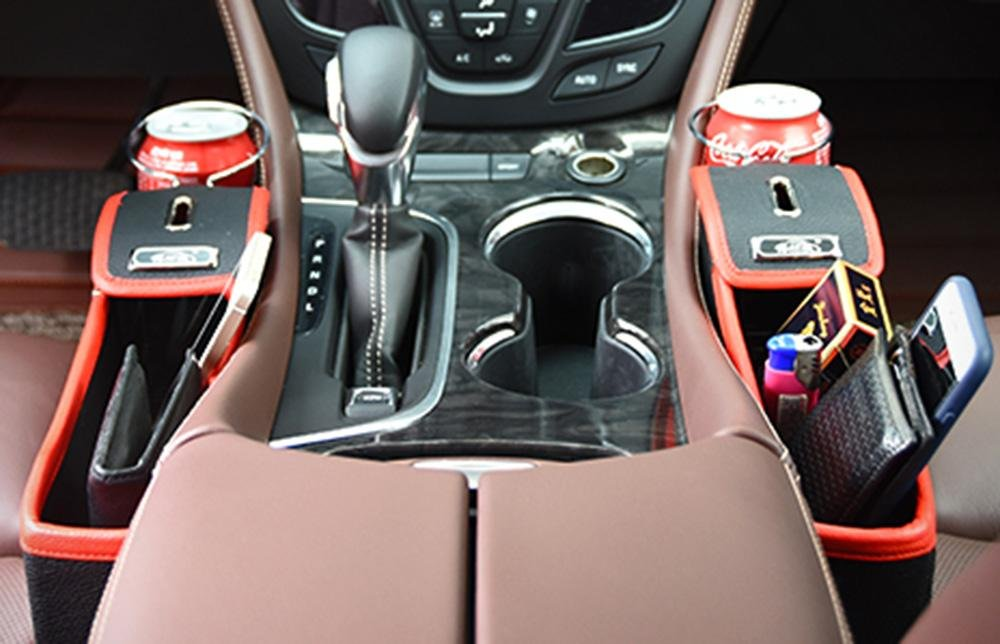 Black and Red TM niceEshop 1Pcs Leather Car Seat Gap Catcher with Coin Organizer and Cup Holder Left Console Side Pocket