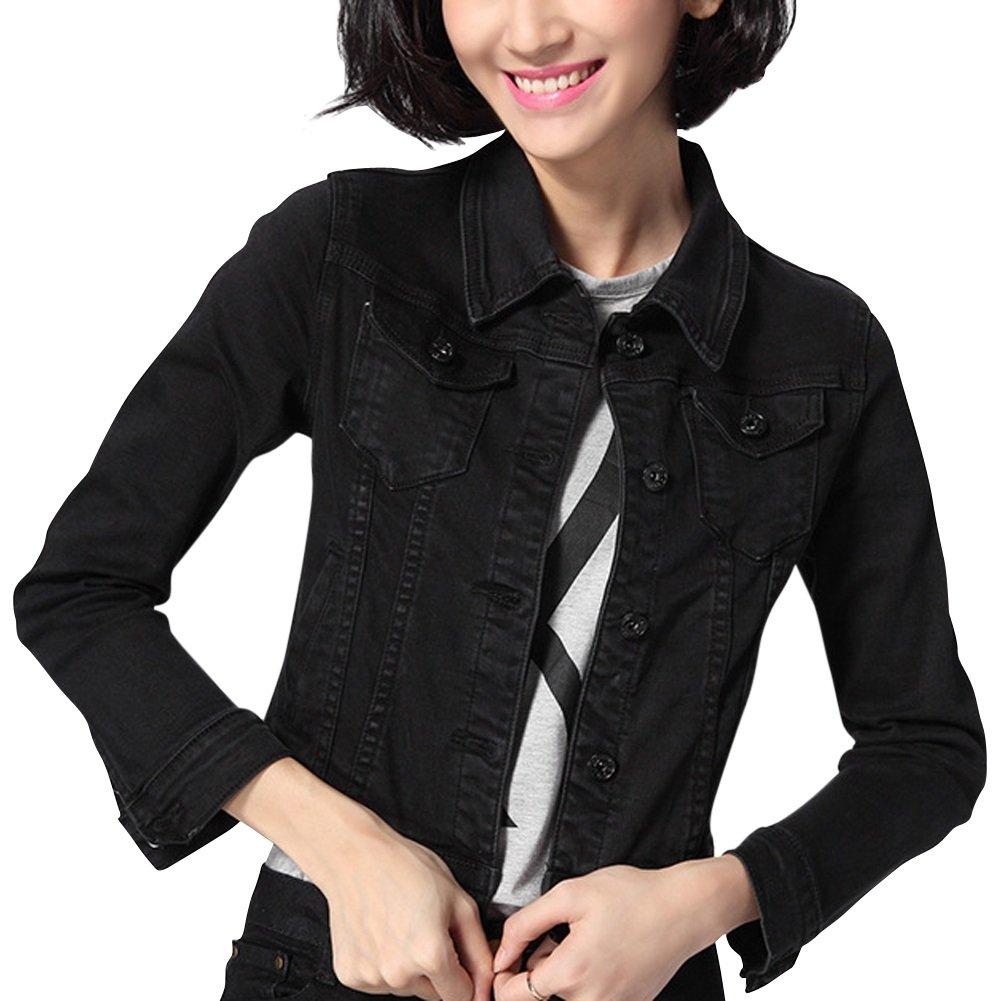 Dasior Women's Slim Fit Short Cropped Button Down Jean Denim Jacket with Pockets M Black