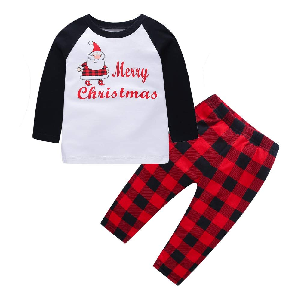 BOBORA Kids Girls Boys Christmas Home Dress Long Sleeve Cotton Pyjamas Set 1-6Years