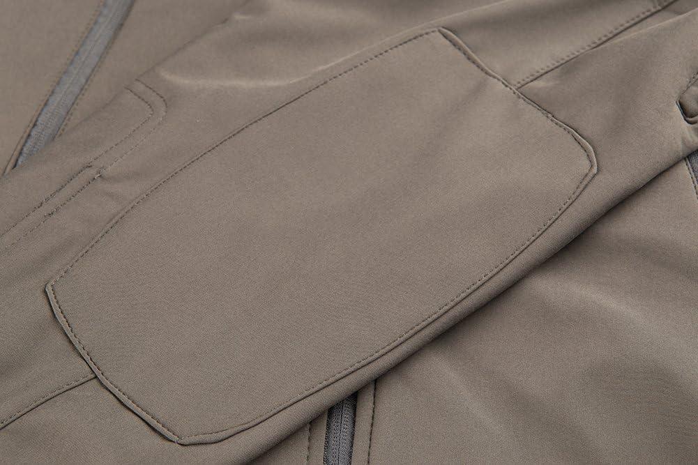TACVASEN Hombres Impermeable Chaqueta Softshell con Capucha Abrigo al Aire Libre para el Senderismo Pesca Caza Camping