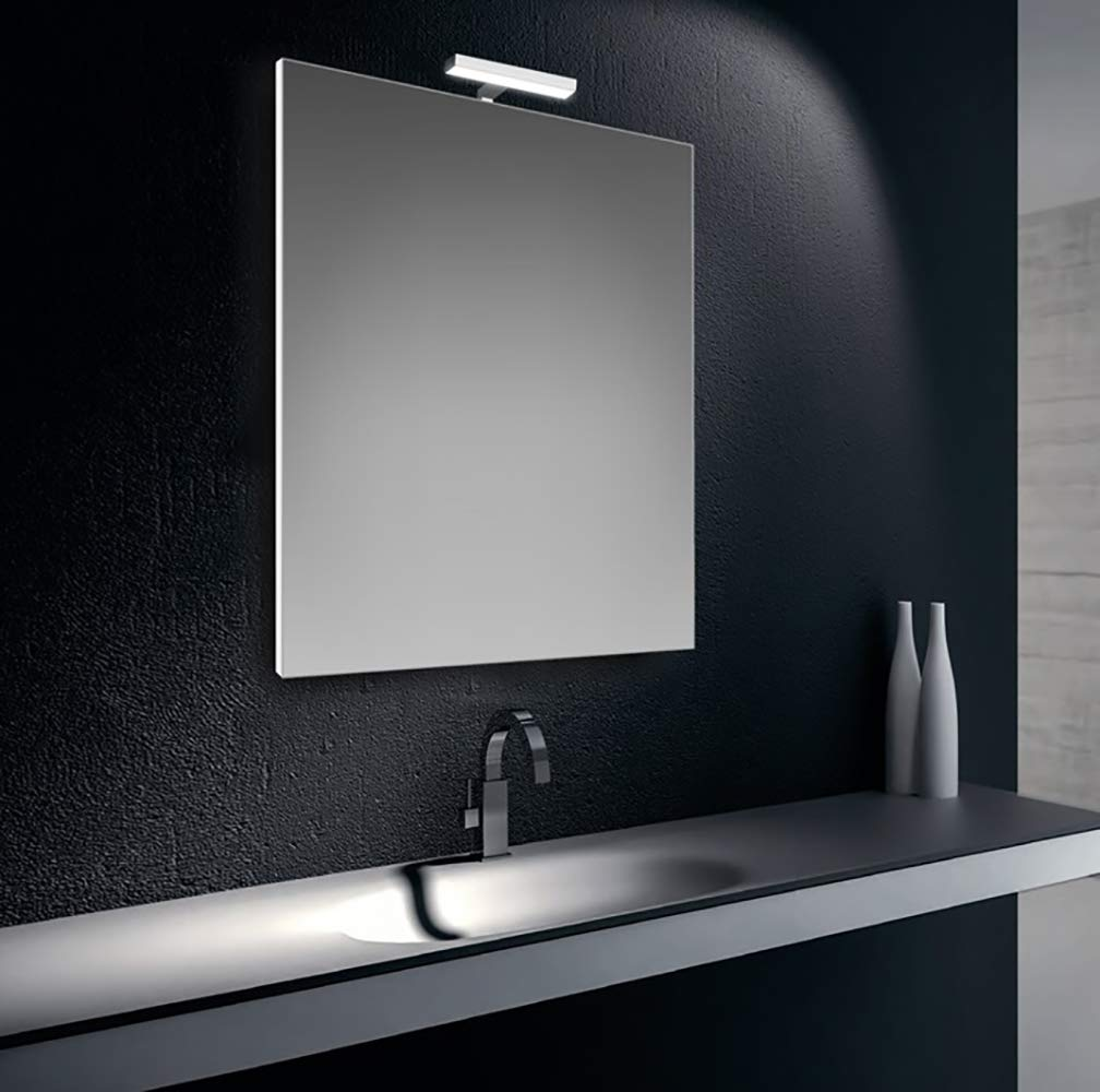 cm.80x60 Specchiera specchio filo lucido con lampada led cromata 6W IP44