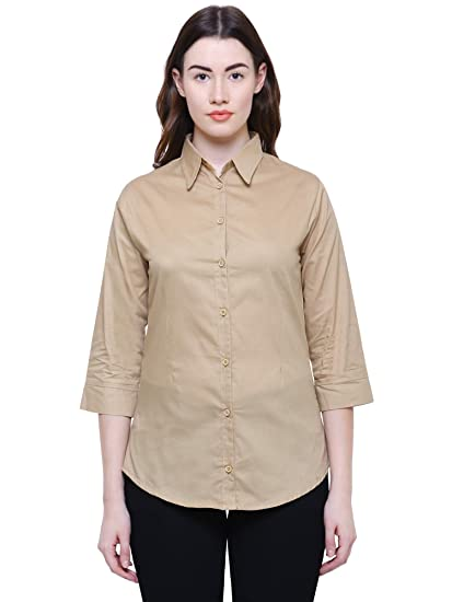 8bb9d7fe2875f3 Minaro Women's Cotton 3/4th Sleeves Plain Formal Shirt (Dark Camel) (XXL