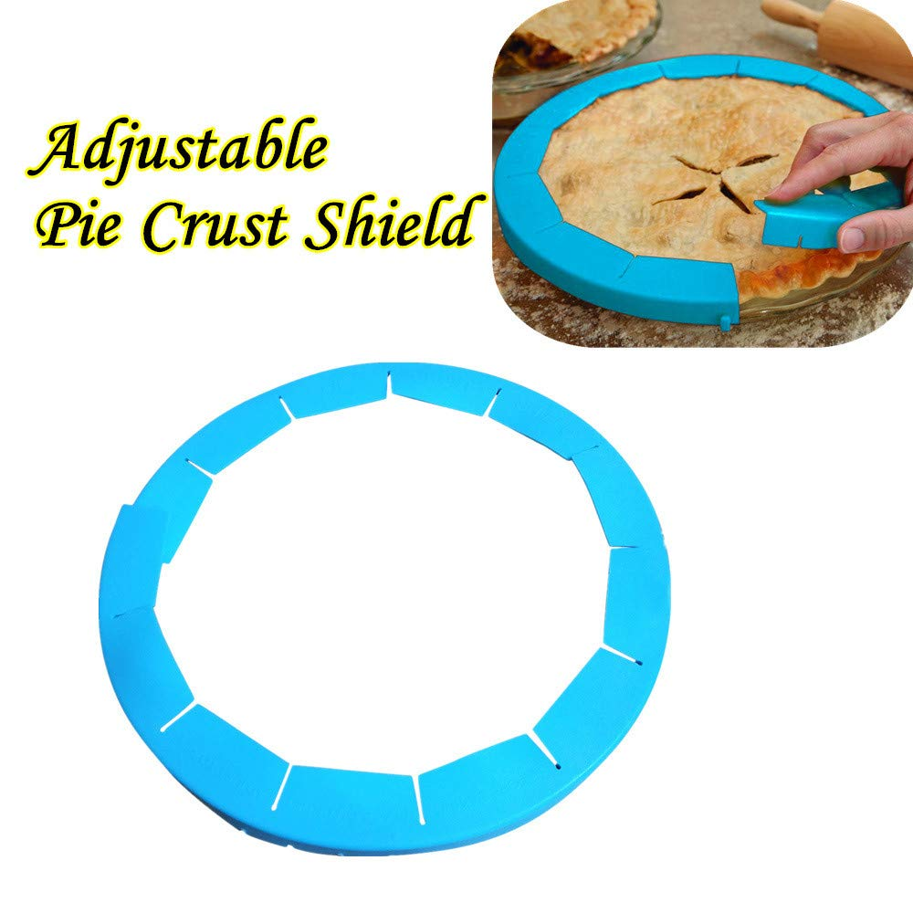 Iuhan Pie Crust Shield Adjustable, FDA Food-safe Silicone, Fit 8.5-11.5Inch Rimmed Dish (blue)
