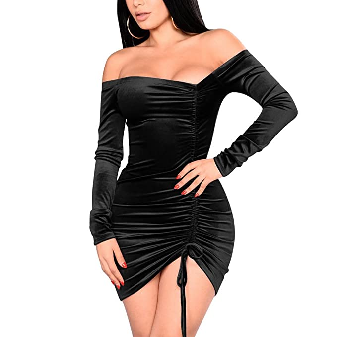 e518f3adfe3 Womens Velvet Off Shoulder Long Sleeve Ruched Bodycon Cocktail Party Club  Dress Black S