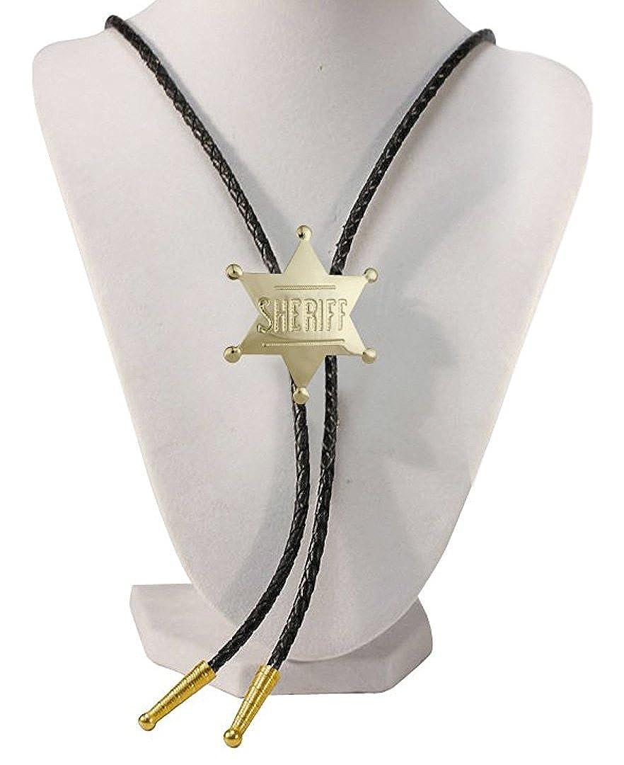 Gold Tone Sheriff Badge Western Bolo Tie WEX-BT-1572-G