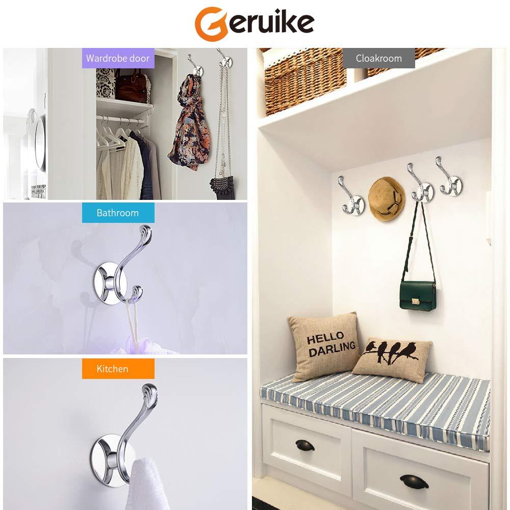 GERUIKE Adhesive Robe Towel Hooks Wall Mounted Coat Hooks Heavy Duty Stainless Steel Rustproof Bathroom Kitchen, 2-Pack Ltd
