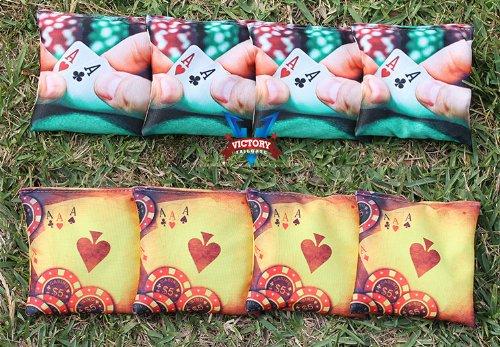 Custom Poker Hand Cornhole Bag Set (all Weather) by Victory Tailgate