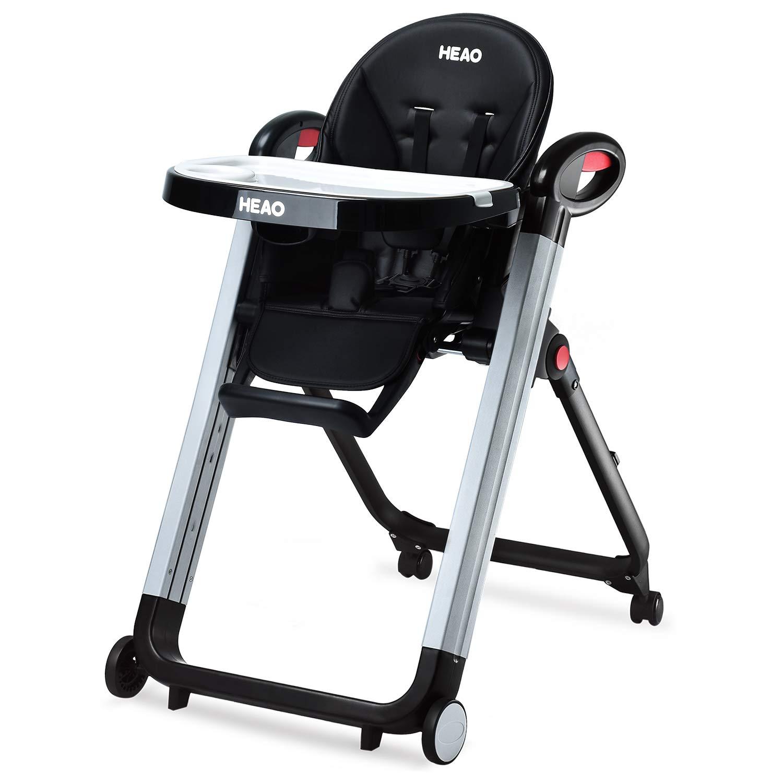HEAO Foldable High Chair Reclining Height Adjustable 4 Wheels (Black)