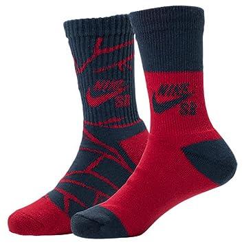Nike – SB Hazard tripulación Calcetines – 2 Pack Rojo/Azul Marino Youth ...