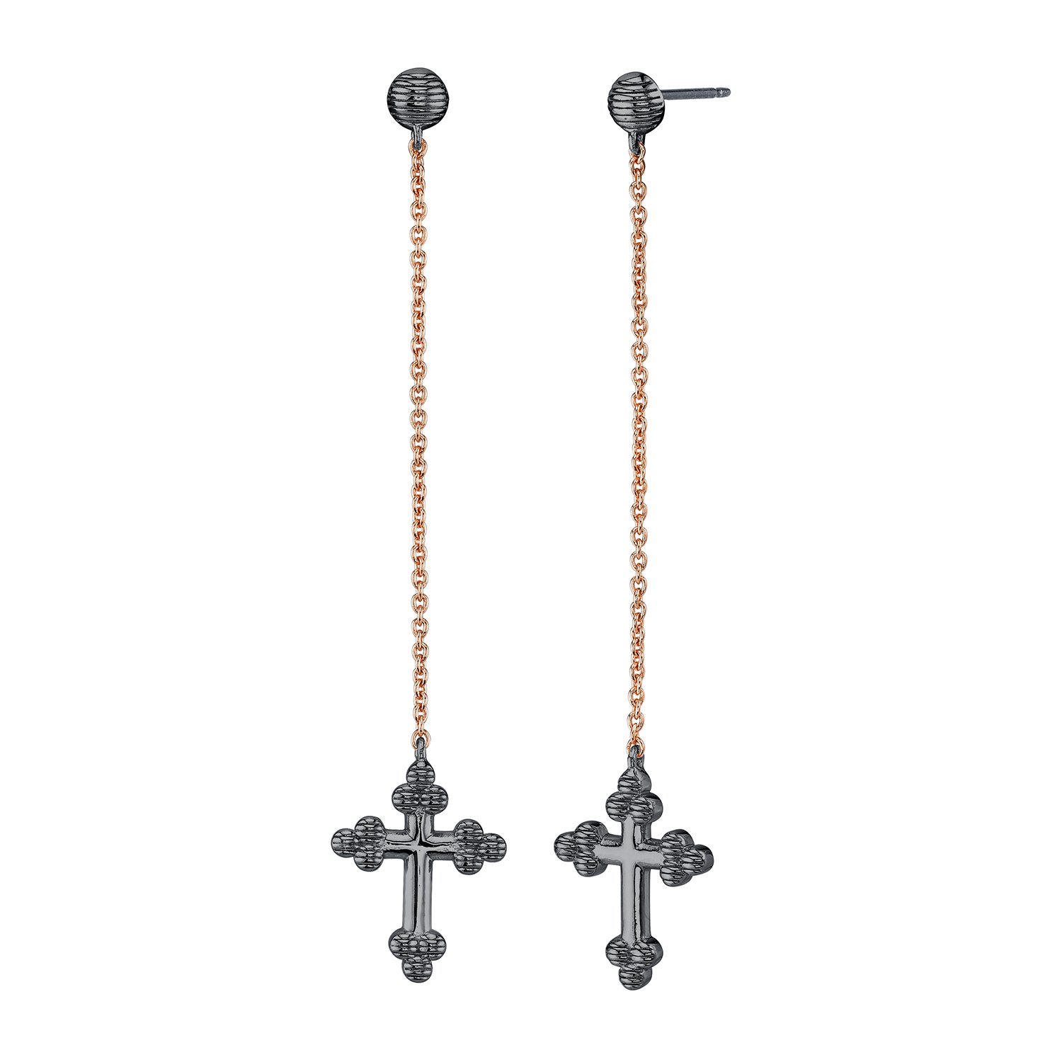 CHARLIZE GADBOIS 925 Sterling Silver Cross Drop Dangle Earrings, Gunmetal Nano Coated & Rose Gold Plated, Hypoallergenic