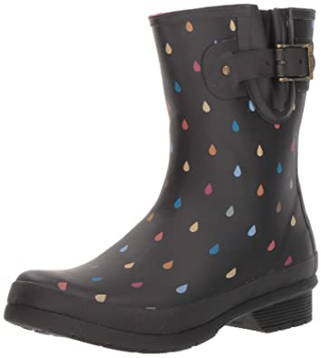 888c35f67d8d9 Chooka Women s Waterproof Mid-Height Printed Rain Boot with Memory Foam  Calf Dot Black
