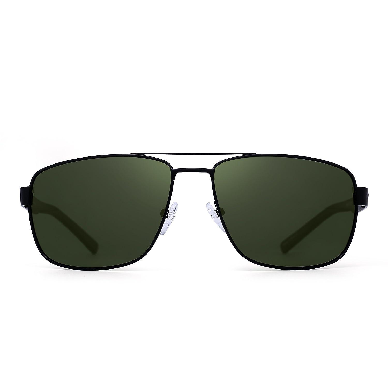 ad60c2f5fa3 Amazon.com  Polarized Driving Aviator Sunglasses Metal Frame Square Lenses  Glasses Men Women (Black Polarized Green)  Shoes