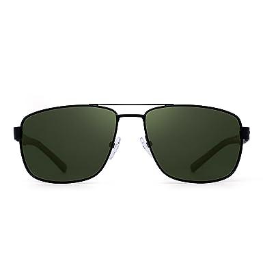 7ae4b25da214 Polarized Driving Sunglasses Metal Frame Square Lenses Glasses Men Women ( Black Polarized Green)  Amazon.co.uk  Clothing